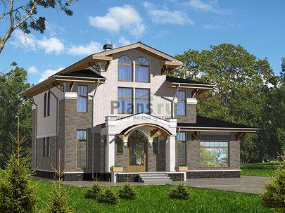 Проект двухэтажного дома с мансардой 13x13 метров, общей площадью 206 м2, из газобетона (пеноблоков), c бассейном, котельной и кухней-столовой