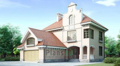 Проект двухэтажного дома с мансардой 13x17 метров, общей площадью 347 м2, из керамических блоков, c гаражом, террасой и котельной