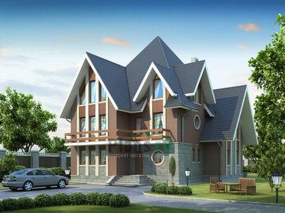 Проект двухэтажного дома с мансардой 14x13 метров, общей площадью 289 м2, из керамических блоков, c котельной и кухней-столовой