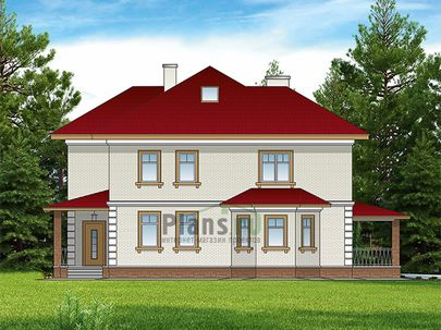 Проект двухэтажного дома с мансардой 14x14 метров, общей площадью 279 м2, из керамических блоков, c террасой, котельной и кухней-столовой