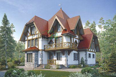 Проект двухэтажного дома с мансардой 15x14 метров, общей площадью 274 м2, из керамических блоков, c террасой, котельной и кухней-столовой