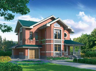Проект двухэтажного дома с мансардой 15x14 метров, общей площадью 284 м2, из керамических блоков, c гаражом, террасой, котельной и кухней-столовой