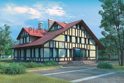Проект двухэтажного дома с мансардой 15x15 метров, общей площадью 270 м2, из керамических блоков, c котельной