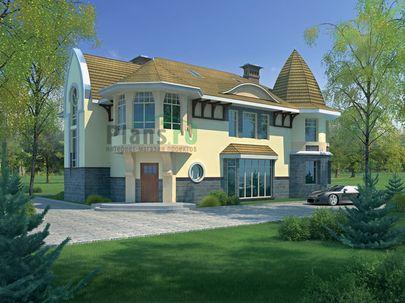 Проект двухэтажного дома с мансардой 15x15 метров, общей площадью 360 м2, из керамических блоков, c котельной
