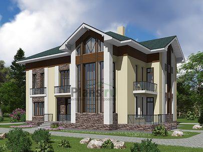 Проект двухэтажного дома с мансардой 16x12 метров, общей площадью 410 м2, из керамических блоков, со вторым светом, c террасой, котельной и кухней-столовой