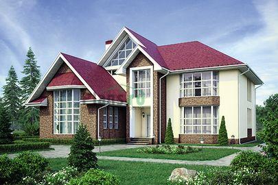 Проект двухэтажного дома с мансардой 17x17 метров, общей площадью 288 м2, из керамических блоков, со вторым светом, c котельной и кухней-столовой