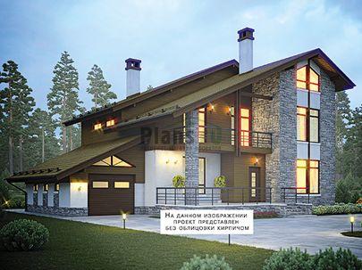 Проект двухэтажного дома с мансардой 18x11 метров, общей площадью 228 м2, из газобетона (пеноблоков), c гаражом, террасой, котельной и кухней-столовой