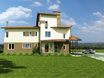 Проект двухэтажного дома с мансардой 20x11 метров, общей площадью 296 м2, из керамических блоков, со вторым светом, c гаражом и котельной