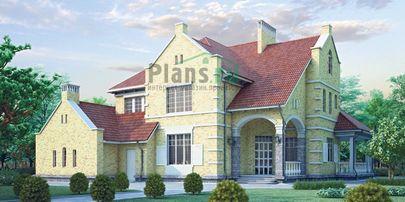 Проект двухэтажного дома с мансардой 20x18 метров, общей площадью 375 м2, из керамических блоков, со вторым светом, c гаражом, террасой и котельной