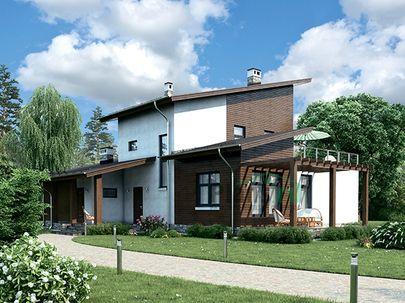 Проект двухэтажного дома с мансардой 21x12 метров, общей площадью 213 м2, из керамических блоков, c террасой, котельной и кухней-столовой