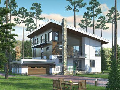 Проект двухэтажного дома с мансардой 22x19 метров, общей площадью 316 м2, из керамических блоков, c гаражом, котельной и кухней-столовой