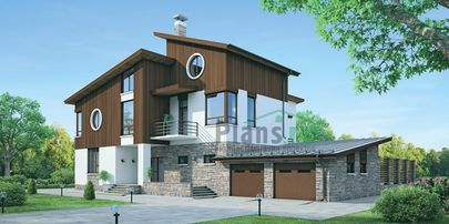 Проект двухэтажного дома с мансардой 25x21 метров, общей площадью 394 м2, из керамических блоков, со вторым светом, c гаражом, террасой, котельной и кухней-столовой