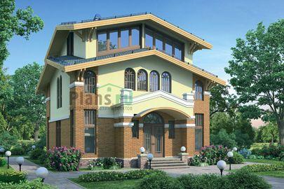 Проект двухэтажного дома с мансардой 9x10 метров, общей площадью 205 м2, из газобетона (пеноблоков), c кухней-столовой