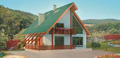 Проект двухэтажного дома с мансардой, общей площадью 172 м2, из кирпича, со вторым светом, c террасой и котельной
