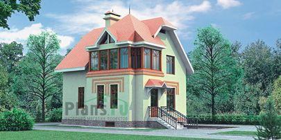 Проект двухэтажного дома с цоколем 10x10 метров, общей площадью 203 м2, из газобетона (пеноблоков), c гаражом и кухней-столовой