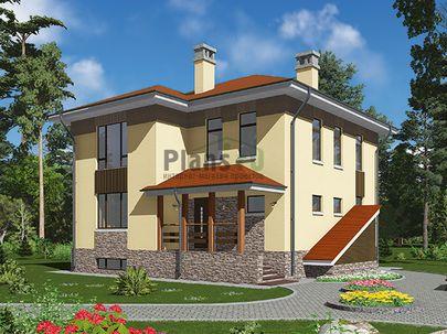 Проект двухэтажного дома с цоколем 10x10 метров, общей площадью 206 м2, из газобетона (пеноблоков), c террасой, котельной и кухней-столовой