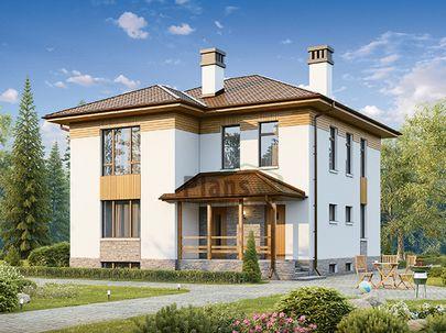 Проект двухэтажного дома с цоколем 10x10 метров, общей площадью 207 м2, из газобетона (пеноблоков), c террасой, котельной и кухней-столовой