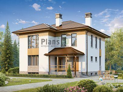 Проект двухэтажного дома с цоколем 10x10 метров, общей площадью 207 м2, из керамических блоков, c террасой, котельной и кухней-столовой