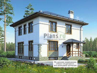Проект двухэтажного дома с цоколем 10x10 метров, общей площадью 214 м2, из керамических блоков, c котельной и кухней-столовой