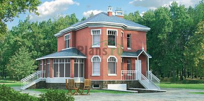 Проект двухэтажного дома с цоколем 10x10 метров, общей площадью 216 м2, из газобетона (пеноблоков), c гаражом, котельной и кухней-столовой