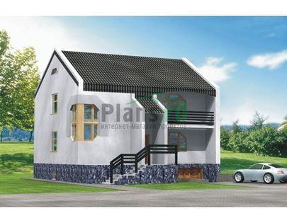 Проект двухэтажного дома с цоколем 10x10 метров, общей площадью 254 м2, из керамических блоков, c гаражом и кухней-столовой