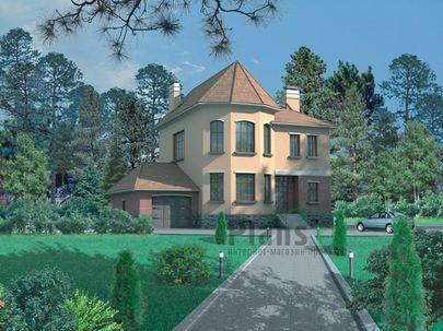 Проект двухэтажного дома с цоколем 10x10 метров, общей площадью 360 м2, из керамических блоков, со вторым светом, c гаражом, террасой и котельной