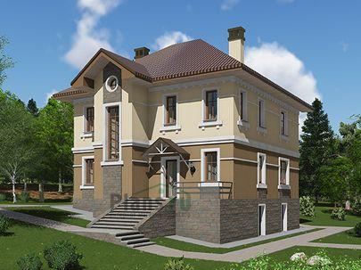 Проект двухэтажного дома с цоколем 10x11 метров, общей площадью 189 м2, из газобетона (пеноблоков), c террасой, котельной и кухней-столовой