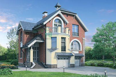 Проект двухэтажного дома с цоколем 10x11 метров, общей площадью 229 м2, из газобетона (пеноблоков), c гаражом