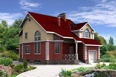 Проект двухэтажного дома с цоколем 10x14 метров, общей площадью 278 м2, из керамических блоков, со вторым светом, c гаражом, террасой и котельной