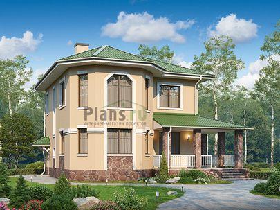 Проект двухэтажного дома с цоколем 11x10 метров, общей площадью 170 м2, из газобетона (пеноблоков), c террасой, котельной и кухней-столовой