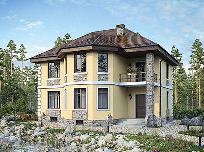 Проект двухэтажного дома с цоколем 11x10 метров, общей площадью 211 м2, из газобетона (пеноблоков), c котельной и кухней-столовой