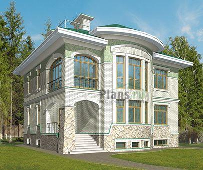 Проект двухэтажного дома с цоколем 11x10 метров, общей площадью 362 м2, из керамических блоков, c террасой, котельной и кухней-столовой