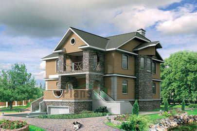 Проект двухэтажного дома с цоколем 11x11 метров, общей площадью 301 м2, из керамических блоков, c гаражом