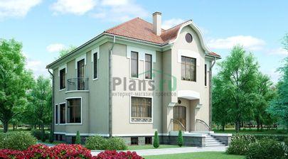 Проект двухэтажного дома с цоколем 11x11 метров, общей площадью 395 м2, из керамических блоков, c котельной