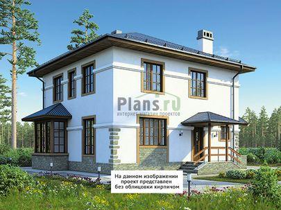 Проект двухэтажного дома с цоколем 11x12 метров, общей площадью 154 м2, из газобетона (пеноблоков), c террасой, котельной и кухней-столовой
