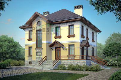 Проект двухэтажного дома с цоколем 11x12 метров, общей площадью 270 м2, из керамических блоков, c террасой, котельной и кухней-столовой