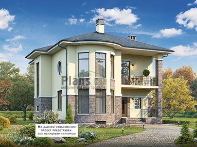 Проект двухэтажного дома с цоколем 11x13 метров, общей площадью 237 м2, из керамических блоков, c террасой, котельной и кухней-столовой