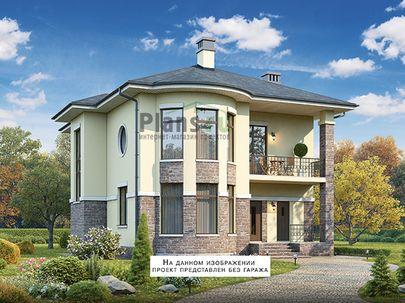 Проект двухэтажного дома с цоколем 11x13 метров, общей площадью 270 м2, из керамических блоков, c гаражом, террасой, котельной и кухней-столовой