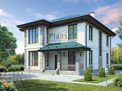Проект двухэтажного дома с цоколем 11x13 метров, общей площадью 286 м2, из кирпича, c террасой, котельной и кухней-столовой