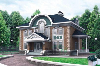 Проект двухэтажного дома с цоколем 12x10 метров, общей площадью 320 м2, из керамических блоков, со вторым светом, c бассейном, террасой и котельной