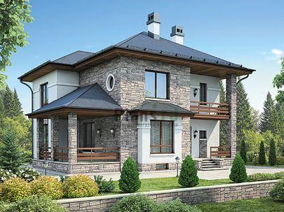 Проект двухэтажного дома с цоколем 12x11 метров, общей площадью 224 м2, из керамических блоков, c террасой, котельной и кухней-столовой
