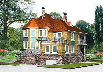 Проект двухэтажного дома с цоколем 12x11 метров, общей площадью 358 м2, из керамических блоков, c гаражом и террасой