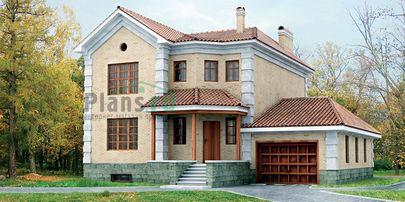 Проект двухэтажного дома с цоколем 12x12 метров, общей площадью 273 м2, из керамических блоков, c гаражом и котельной