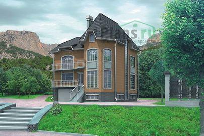 Проект двухэтажного дома с цоколем 12x12 метров, общей площадью 347 м2, из керамических блоков, c гаражом, котельной и кухней-столовой