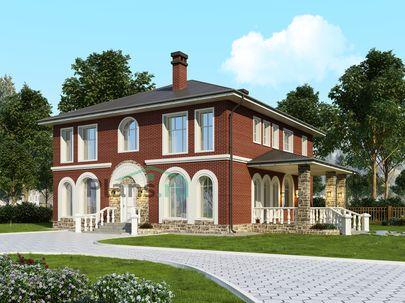 Проект двухэтажного дома с цоколем 12x13 метров, общей площадью 230 м2, из керамических блоков, c террасой, котельной и кухней-столовой