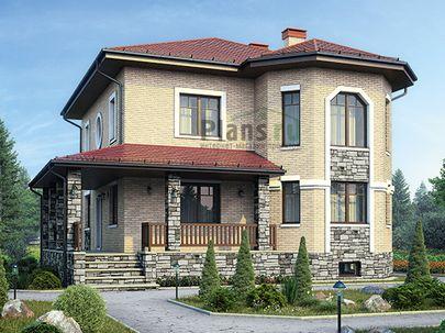 Проект двухэтажного дома с цоколем 12x13 метров, общей площадью 285 м2, из керамических блоков, c террасой, котельной и кухней-столовой