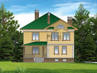 Проект двухэтажного дома с цоколем 12x16 метров, общей площадью 365 м2, из керамических блоков, c террасой, котельной и кухней-столовой