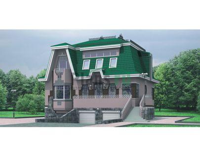 Проект двухэтажного дома с цоколем 12x9 метров, общей площадью 280 м2, из керамических блоков, c гаражом, котельной и кухней-столовой