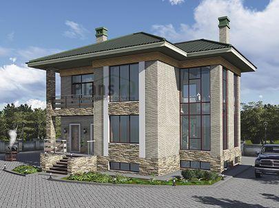 Проект двухэтажного дома с цоколем 13x11 метров, общей площадью 228 м2, из газобетона (пеноблоков), со вторым светом, c террасой, котельной и кухней-столовой
