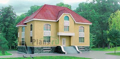Проект двухэтажного дома с цоколем 13x11 метров, общей площадью 312 м2, из керамических блоков, c котельной и кухней-столовой